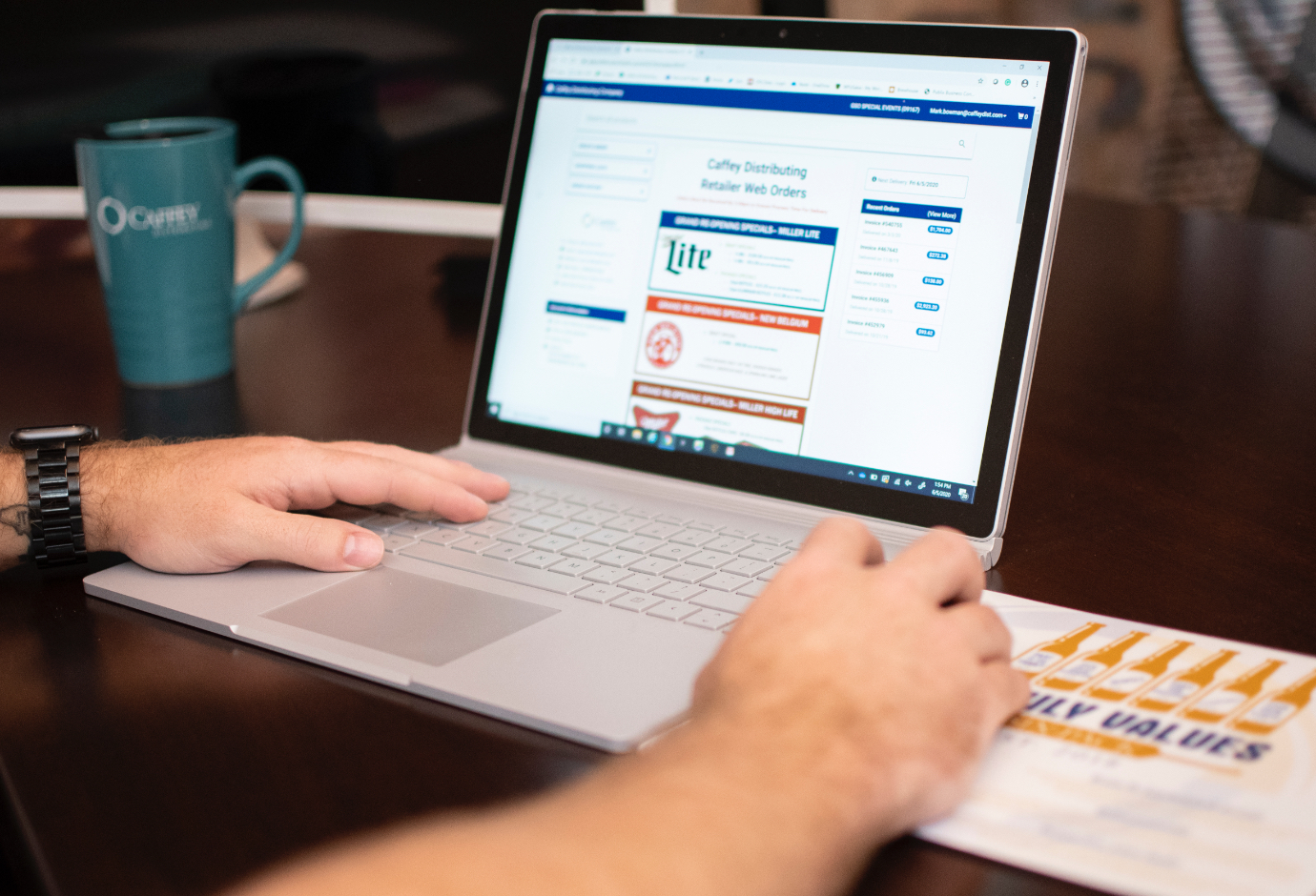 Ordering Caffey products on a laptop